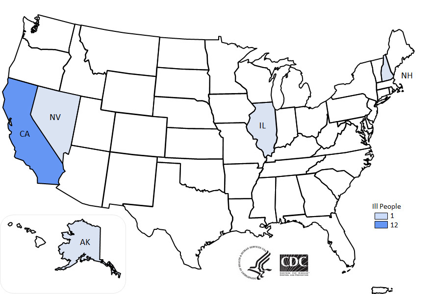 Map of Reported Cases   Multistate Outbreak of ...