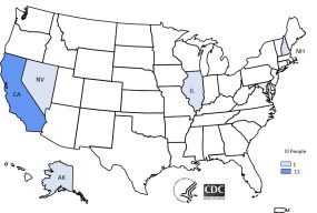 Map of United States - People infected with the outbreak strains of multiple gastrointestinal illnesses, by state of residence, as of May 9, 2019