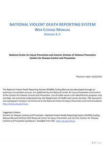 National Violent Death Reporting System Coding Manual