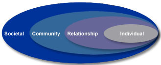 Social-ecological model: Societal, Community, Relationship and Individual levels