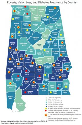 Alabama map; Poverty, Vision Loss, and Diabetes Prevalence by County