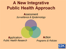 A New Integrative Public Health Approach: Assessment: Surveillance & Epidemiology; Application: Public Health Resource; Action: Programs & Policies