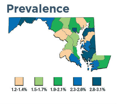 Maryland prevalence map
