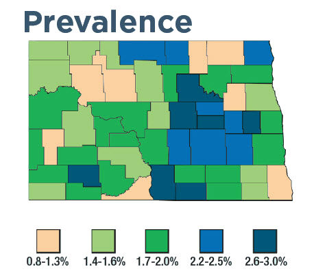 North Dakota prevalence map