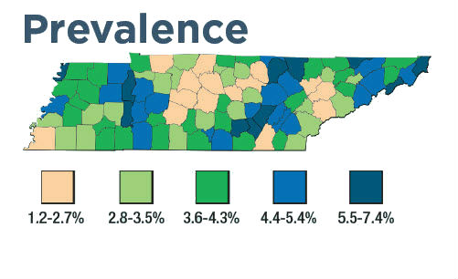 Tennessee prevalence map