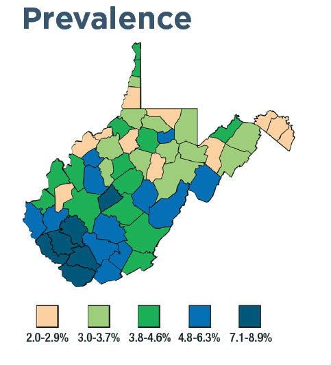 West Virginia prevalence map