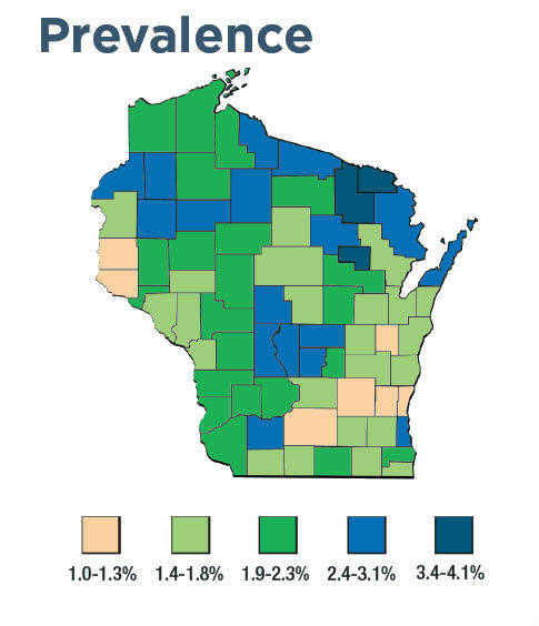Wisconsin prevalence map