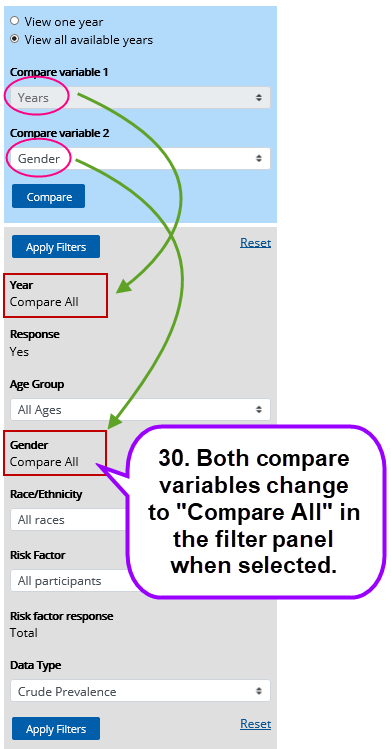Screenshot showing selecting two compare variables