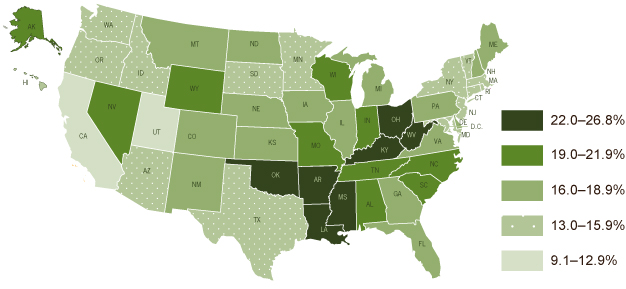 U.S. Map: Statistics taken from the 2010 Behavioral Risk Factor Surveillance System showing adult smoking prevalence by state