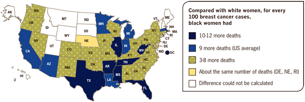 Number of Additional Breast Cancer Deaths Among Black Women, By State