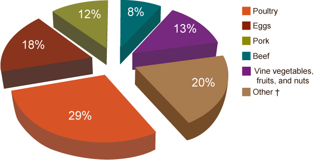 This chart shows the percentages of different single food commodities that are associated with Salmonella outbreaks: Poultry:  29.3%; Eggs:  17.6%; Pork:  11.7%; Beef: 	8.3%; Vine:  6.8%; Fruits-nuts: 6.3%; Dairy:  5.4% Other**:   14.6%. **Other includes: Sprouts, leafy greens, roots, fish, grains-beans, shellfish, oil-sugar, and dairy.