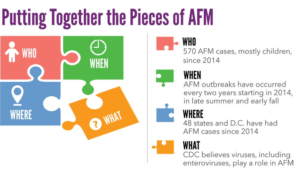 Putting Together the Pieces of AFM. WHO: 570 AFM cases, mostly children, since 2014. WHEN: AFM outbreaks have occurred every two years starting in 2014, in late summer and early fall. WHERE: 48 states and D.C. have had AFM cases since 2014. WHAT: CDC believes viruses, including enteroviruses, play a role in AFM.SOURCE: CDC Vital Signs, July 2019