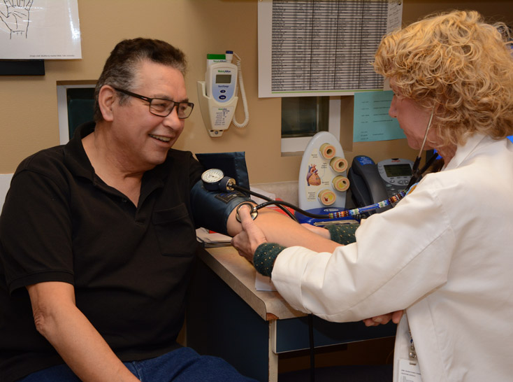 Native American getting a blood pressure test