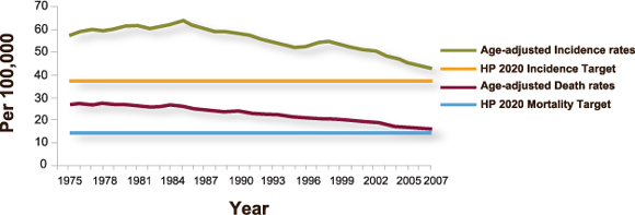 Chart: Age-adjusted colorectal cancer incidence and death rates by year from 1975 to 2007 and Healthy People 2020 targets. Colorectal cancer incidence rates rose from 59.5 per 100,000 people in 1975 to 66.3 in 1985, then declined slowly to 44.7 in 2007. The Healthy People 2020 target for colorectal cancer incidence is 38.6. Colorectal cancer death rates declined slowly from 28.1 per 100,000 people in 1975 to 16.7 in 2007. The Healthy People 2020 target for colorectal cancer deaths is 14.5.