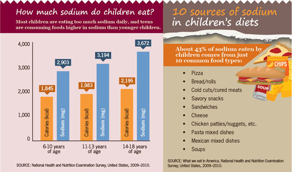 Charts: How much sodium do children eat? and 10 sources of sodium in childrens diets. Click to view larger image and text description.