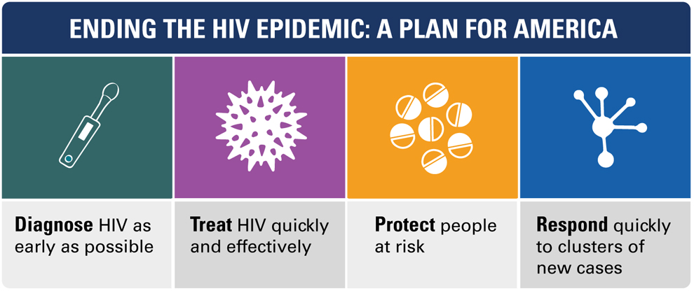 Ending The HIV Epidemic: A Plan for America. Diagnose HIV as early as possible. Treat HIV quickly and effectively. Protect people at risk. Respond quickly to clusters of new cases. SOURCE: Vital Signs, 2019.