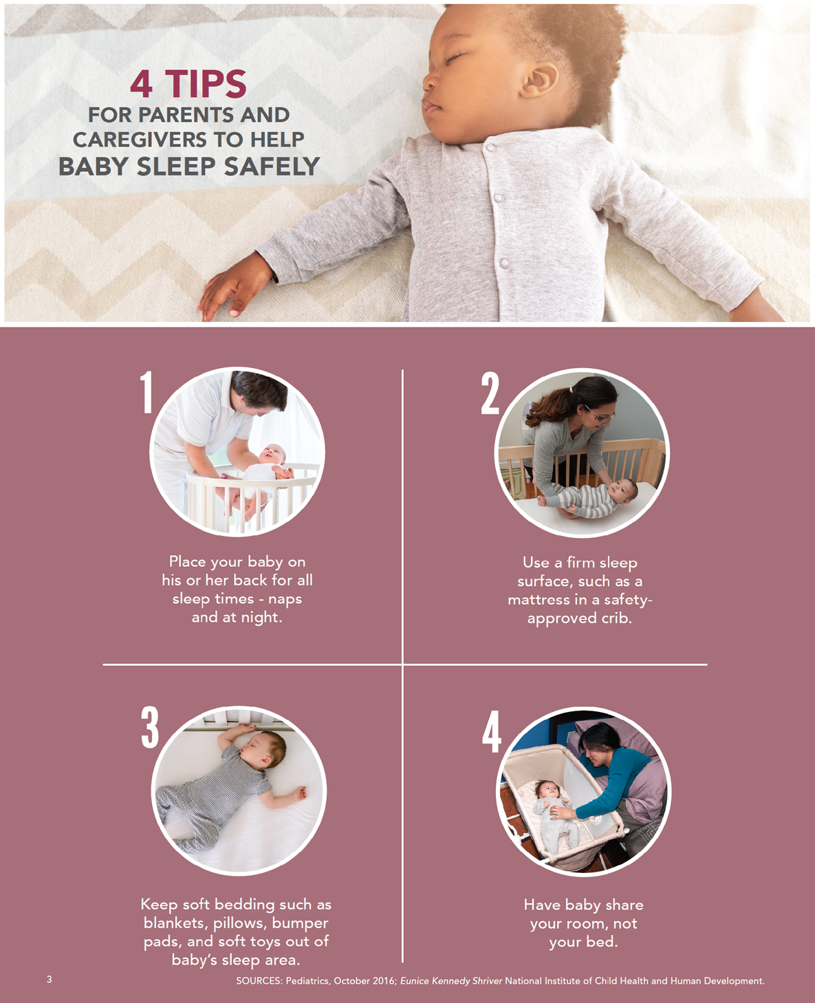 Graphic 4 tips for parents and caregivers to help baby sleep safely
