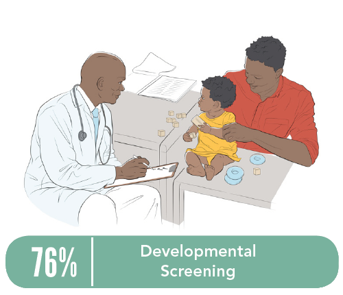 Illustration of a doctor examining a baby on a table with the father holding the baby's arm.
