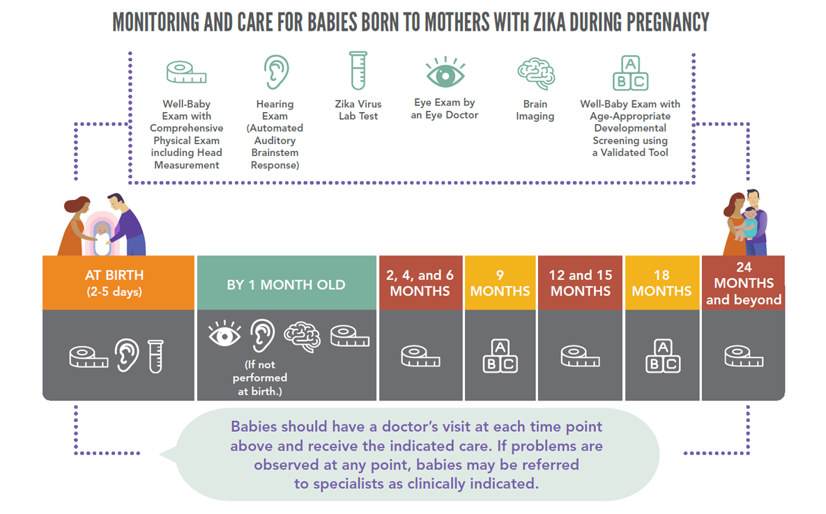 Monitoring and care for babies born to mothers with zika during pregnancy