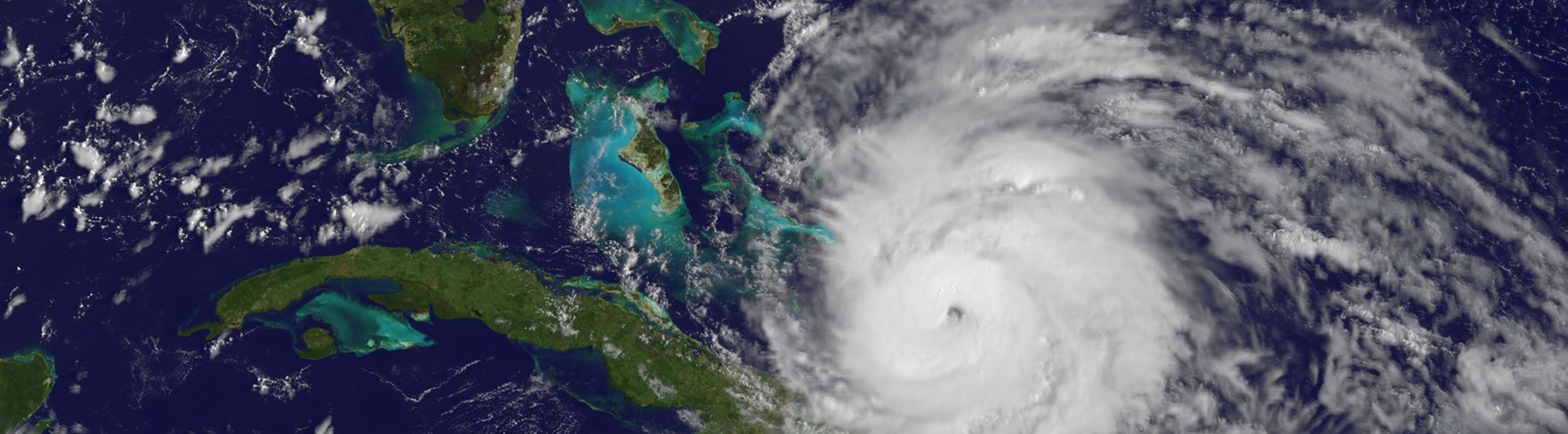 satellite view of a hurricane in the caribbean