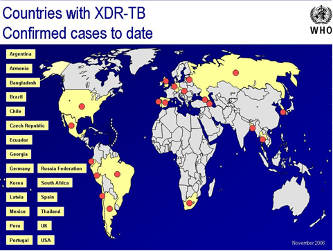 Countries with XDR-TB Confirmed cases to date