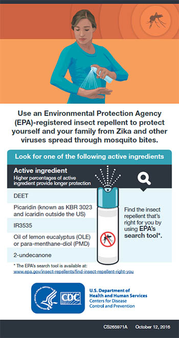 Use an Environmental Protection Agency (EPA)-registered insect repellent to protect yourself and your family from Zika and other viruses spread through mosquito bites fact sheet thumbnail