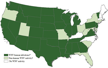 Map of the United States showing West Nile virus activity by state