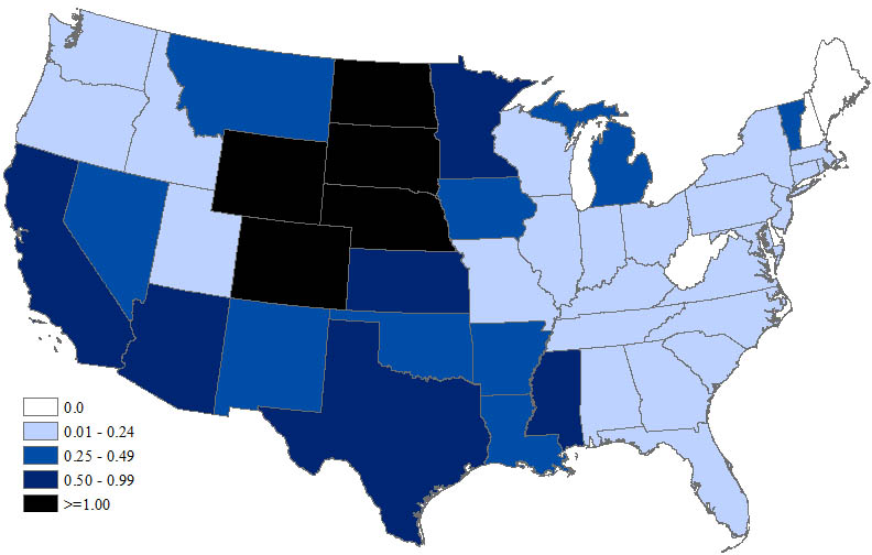 West Nile Virus Neuroinvasive Disease Incidence By State United - Meningitis in the us epidemiology map