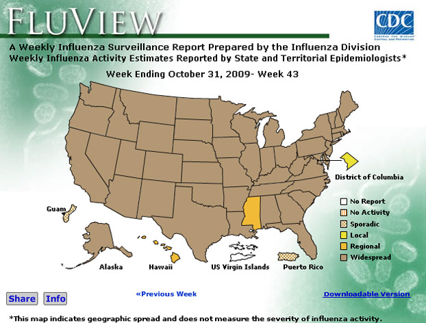 CDC Flu View Map Widget. Flash Player 9 is required.