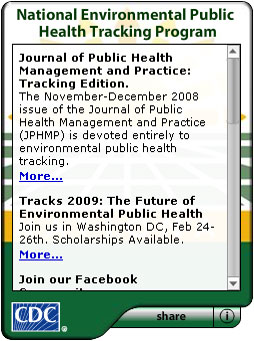 CDC National Environmental Public Health Tracking Program.