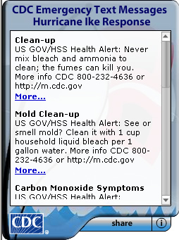 CDC Text Messages Widget. Flash Player 9 is required.