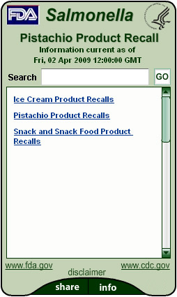 Pistachio Product Recall 2009. Flash Player 9 is required.