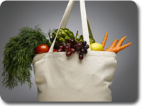 Photo: A bag of fruits and vegetables.