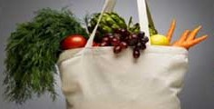 Carrying Bag Filled with Healthful Foods