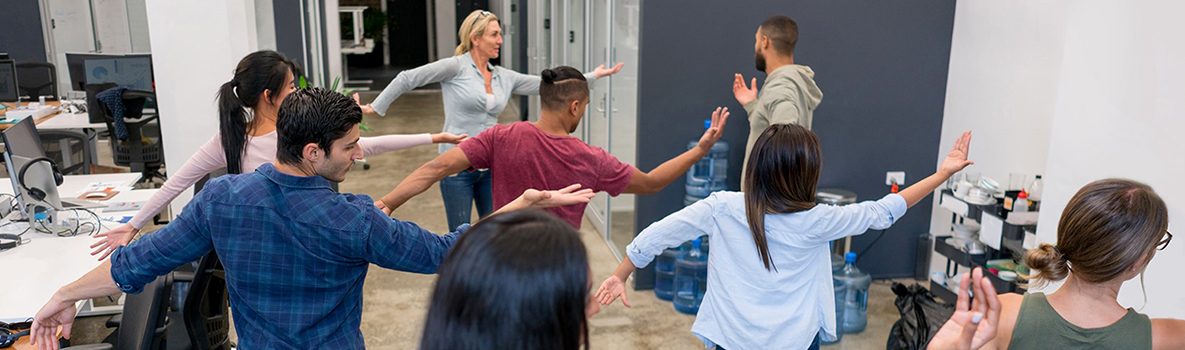 Employees exercising in the workplace