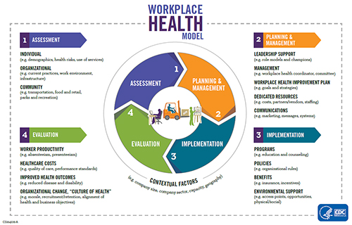 "A figure depicts a workplace health model that describes a systematic process of building a workplace health promotion program. The model has four main steps. Step 1 is Assessment which involves three components: organizational, individual, and community assessment. Step 2 is Planning/Workplace Governance which involves five components: leadership support, management, a workplace health improvement plan, dedicated resources, and communications and informatics. Step 3 is Implementation which involves four components: programs, policies, health benefits, and environmental support. Step 4 is Evaluation which involves four components: worker productivity, healthcare costs, improved health outcomes, and organizational change or ""creating a culture of health"". Underlying the four steps are contextual factors such as the size of company or industry sector that need to be considered when building a workplace health promotion program. A figure depicts a workplace health model that describes a systematic process of building a workplace health promotion program. The model has four main steps. Step 1 is Assessment which involves three components: individual, organizational, and community assessment. Step 2 is Planning/Workplace Governance which involves five components: leadership support, management, a workplace health improvement plan, dedicated resources, and communications. Step 3 is Implementation, which involves four components: programs, policies, benefits, and environmental support. Step 4 is Evaluation which involves four components: worker productivity, healthcare costs, improved health outcomes, and organizational change or ""culture of health"". Underlying the four steps are contextual factors such as the size of company, industry sector, capacity and geography, all of which need to be considered when building a workplace health promotion program."