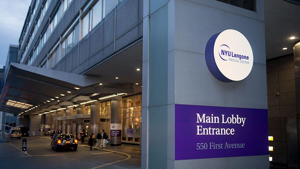 Photo of the main lobby entrance of NYU/Langone Medical Center
