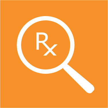 Logo of a magnifying glass with the Rx Prescription abbreviation in the center of the glass.