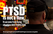 PTSD Police with text: PTSD is not a flaw.  It can come from facing situations most people fear.
