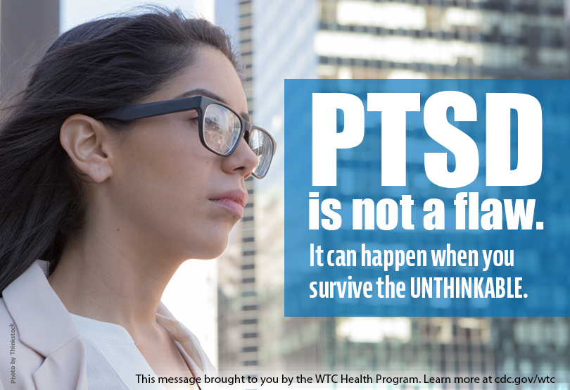 Higher resolution image of PTSD Survivor graphic containing text: PTSD is not a flaw.  It can come from when you survive the unthinkable.