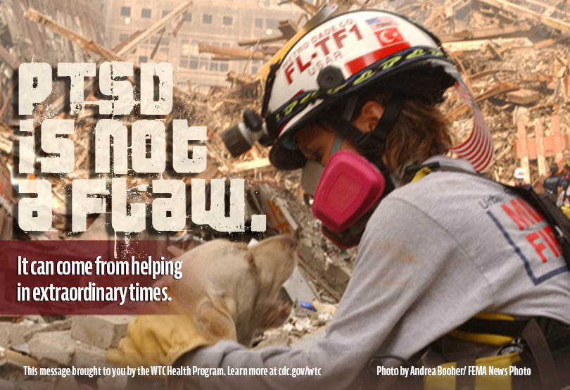 Higher resolution image of PTSD Volunteer graphic containing text: PTSD Volunteer with text: PTSD is not a flaw. It can come from helping in extraordinary times.