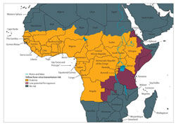 Thumbnail Map: Africa showing countries with Yellow Fever