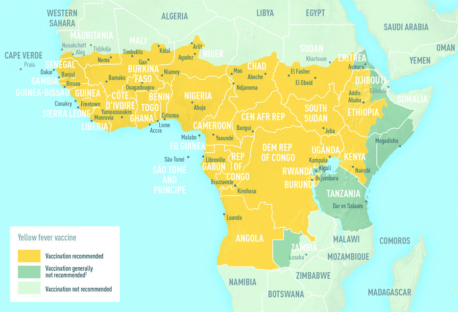 Map: Africa showing areas at risk for Yellow Fever Transmision in Angola, Tanzania, Democratic Republic of the Congo, Republic of the Congo, Gabon, Equatorial Guinea, Burundi, Rwanda, Uganda, Kenya, Somalia, Ethiopia, Central African Republic, Cameroon, Nigeria, Benin, Ghana, Cote dIvoire, Liberia, Sierra Leone, Guinea, Buinea-Bissau, The Gambia, Senegai, Burkina Faso, Togo, and parts of Mauritania, Mali, Niger, Chad, and Sudan.