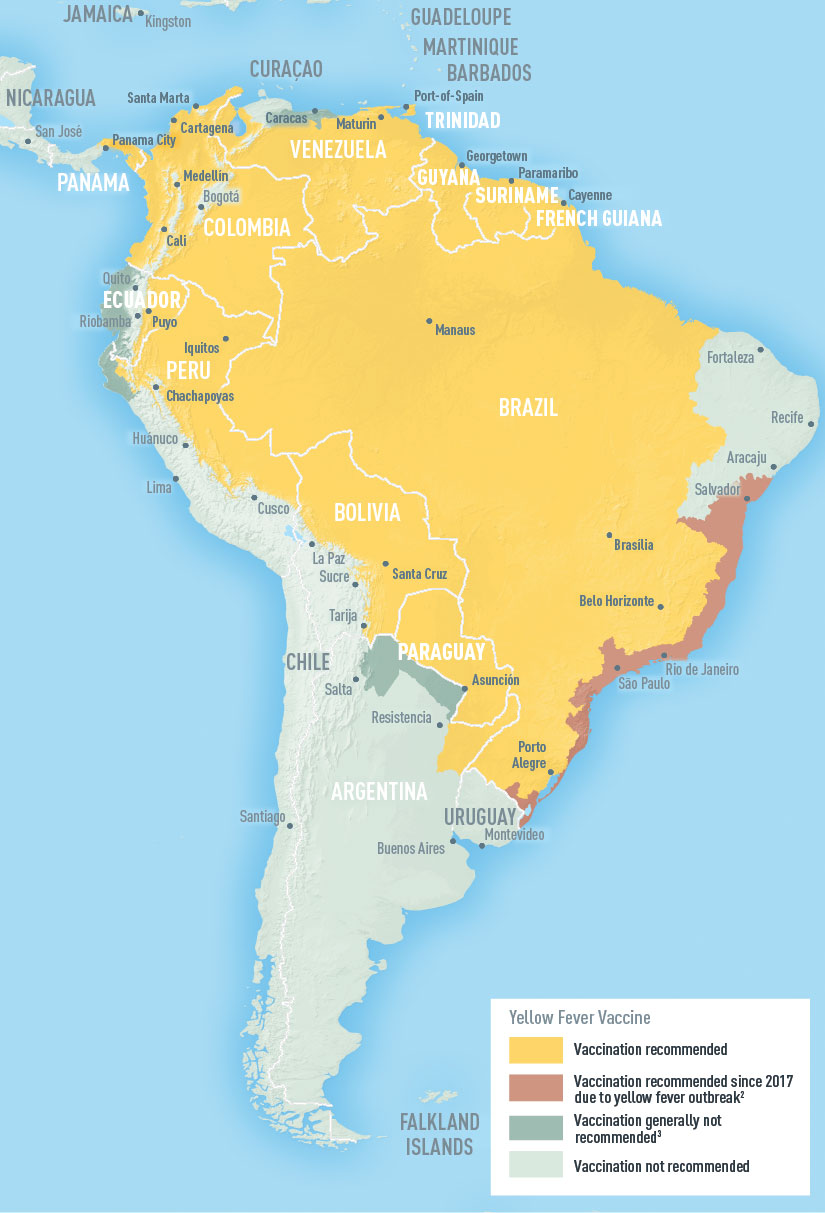 Map: South America showing areas at risk for Yellow Fever Transmision in Columbia, Venezuela, Guyana, Suriname, French Guiana, Brazil, Paraguay, and parts of Ecuador, Peru, Bolivia, Argentina, and Uruguay