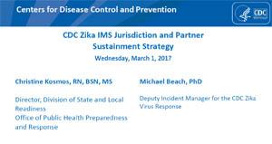 Imagen de pantalla de una serie de diapositivas sobre la estrategia de mantenimiento de socios y jurisdicción del IMS para el zika de los CDC