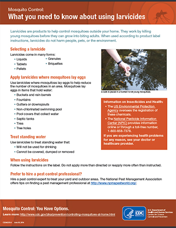 Mosquito Control: What you need to know about using larvicides fact sheet thumbnail