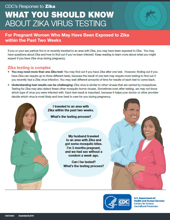 What you should know about Zika virus testing: For pregnant women who may have been exposed to Zika within the past two weeks fact sheet thumbnail