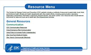 Vista en miniatura del menú de recursos