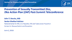 Prevention of Sexually Transmitted Zika, Zika Action Plan (ZAP) Post-Summit Teleconference slide set cover sheet thumbnail