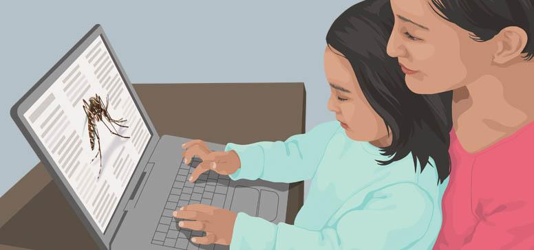Imagen prediseñada de una mujer y una niña usando una laptop